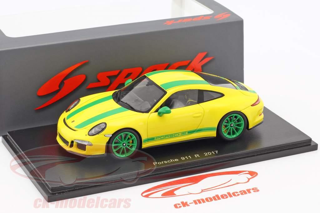 Porsche 911 (991) R anno di costruzione 2017 giallo / verde 1:43 Spark