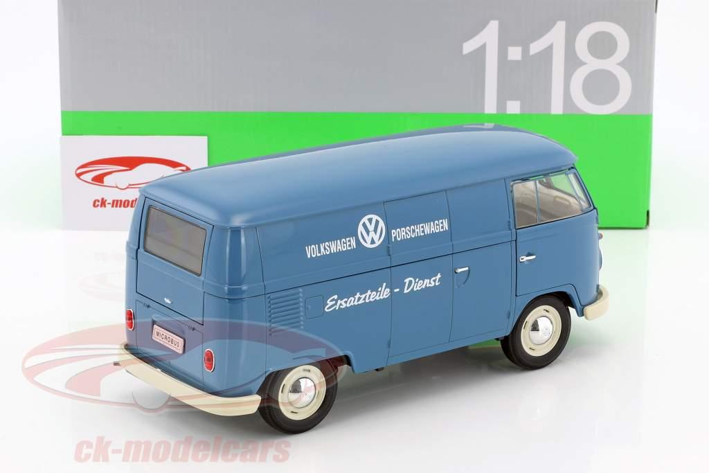Volkswagen VW T1 Bus Ersatzteile-Dienst Baujahr 1963 blau / weiß 1:18 Welly