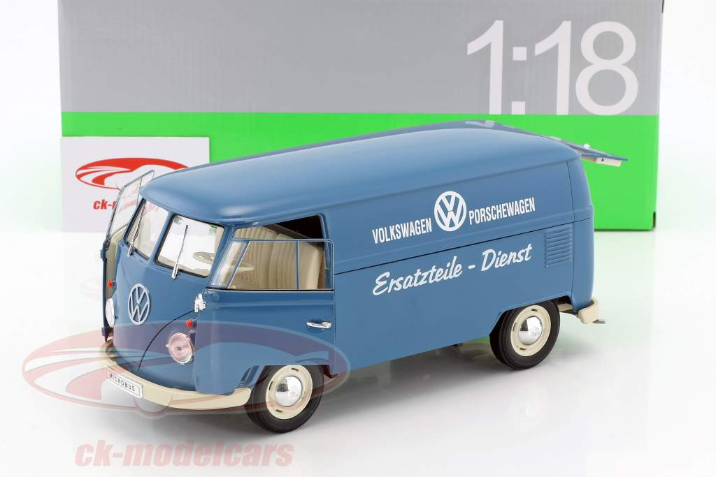 Volkswagen VW T1 Bus Onderdelen dienst Bouwjaar 1963 blauw / wit 1:18 Welly