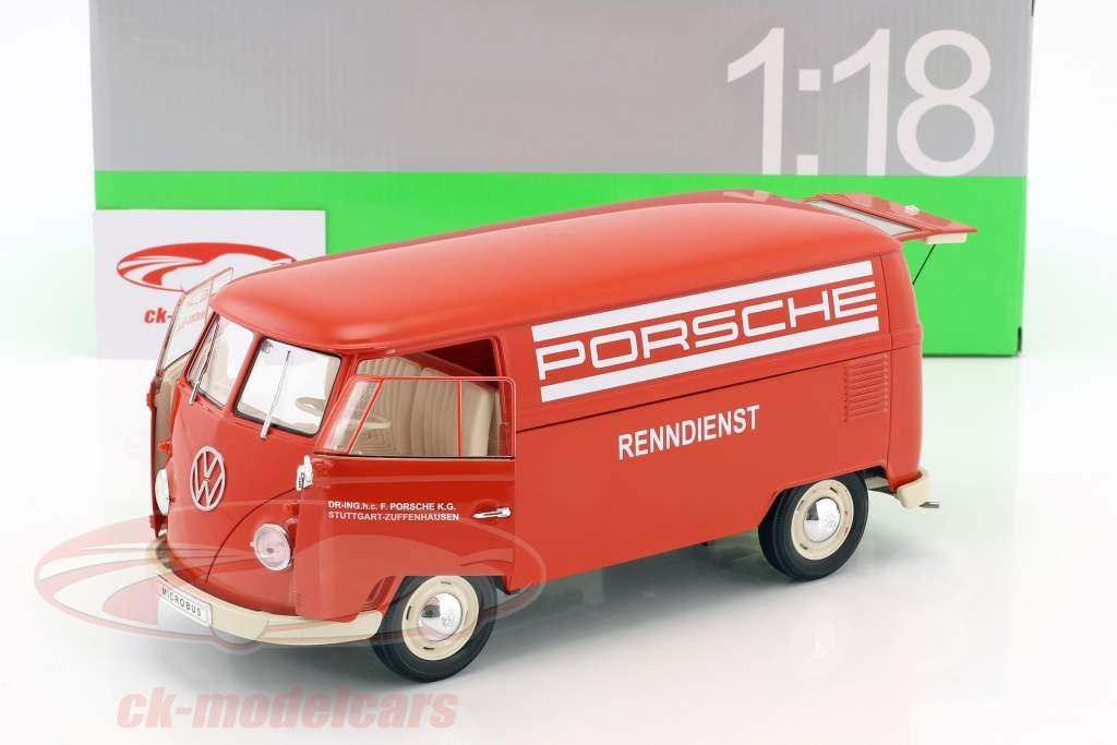 Volkswagen VW T1 Bus Porsche Renndienst year 1963 red / White 1:18 Welly