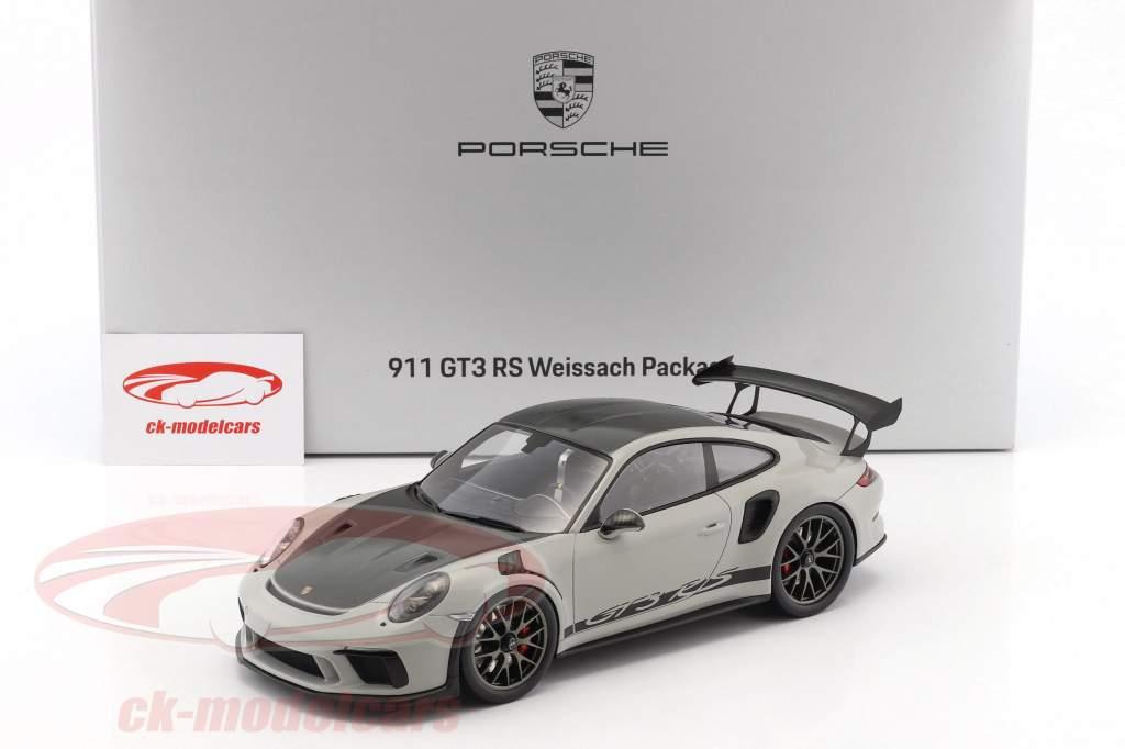 Porsche 911 (991 II) GT3 RS Weissach Package gesso grigio / nero con vetrina 1:18 Spark