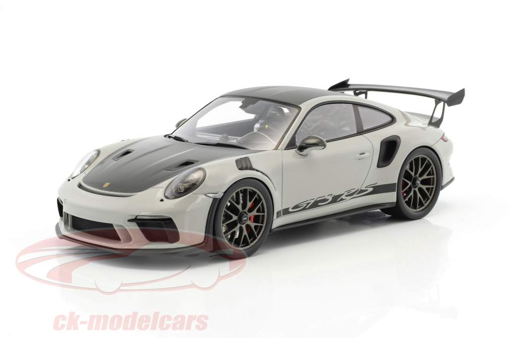 Porsche 911 (991 II) GT3 RS Weissach Package chalk gray / black with showcase 1:18 Spark