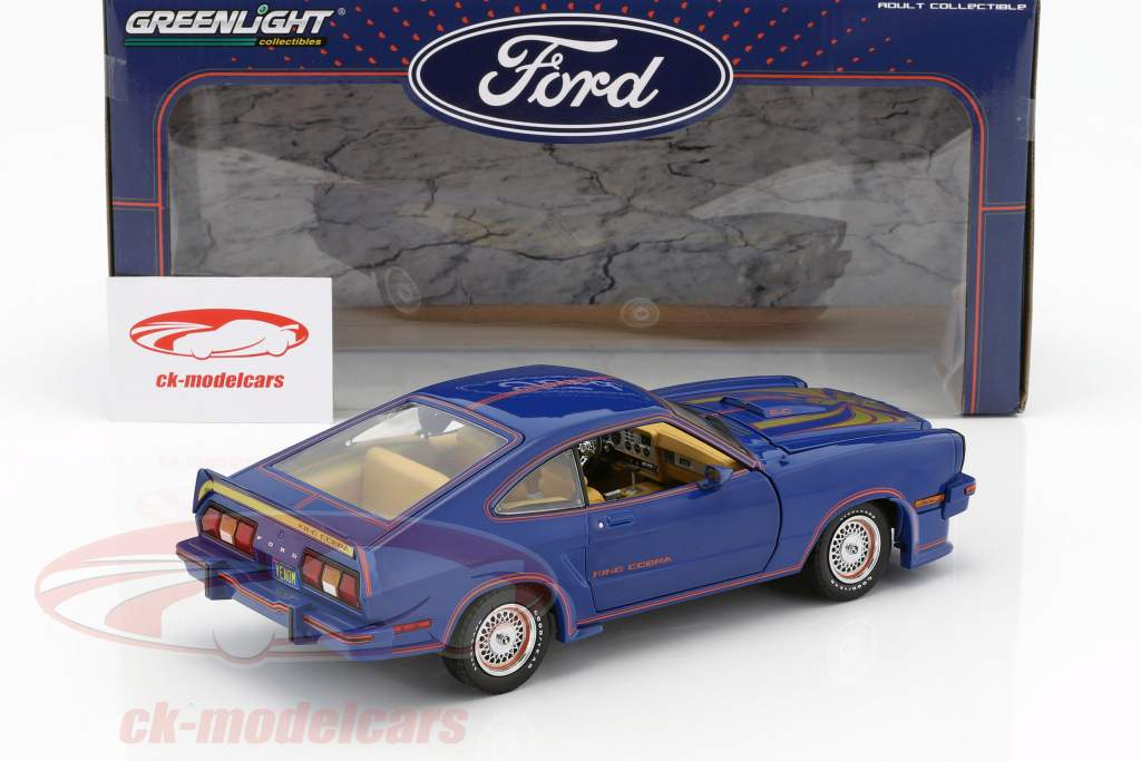Ford Mustang II King Cobra year 1978 blue / red / gold 1:18 Greenlight