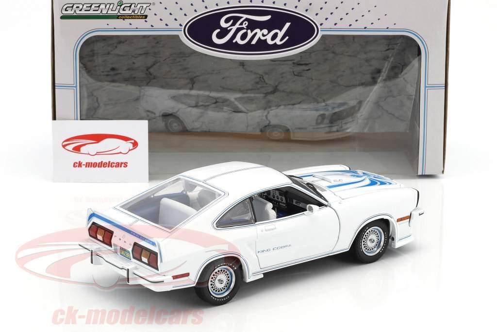 Ford Mustang II King Cobra anno di costruzione 1978 bianco / blu 1:18 Greenlight