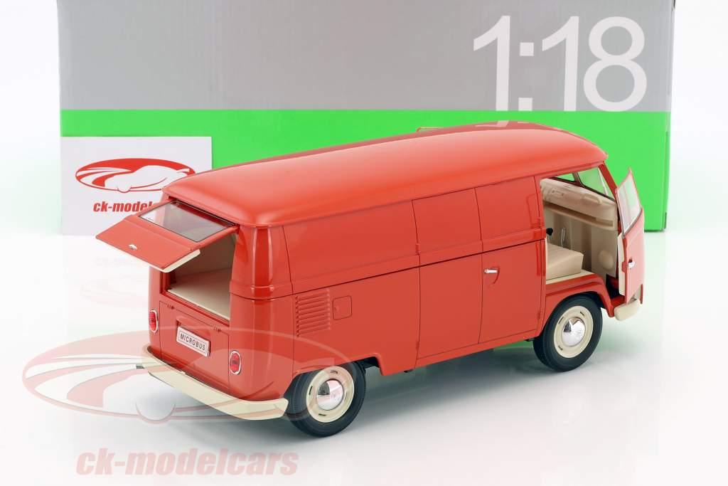 Volkswagen VW T1 Bus van année de construction 1963 rouge 1:18 Welly