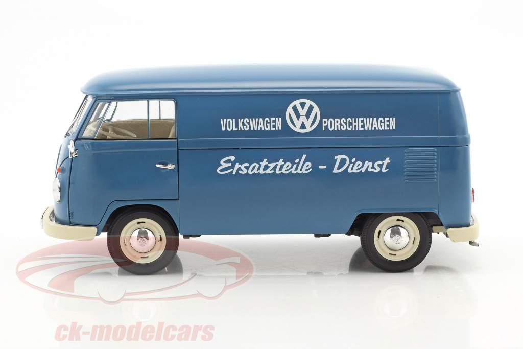 Volkswagen VW T1 Bus Reservedele tjeneste Opførselsår 1963 blå / hvid 1:18 Welly