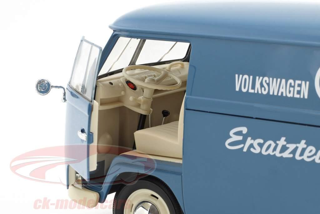 Volkswagen VW T1 Bus Service de pièces de rechange année de construction 1963 bleu / blanc 1:18 Welly