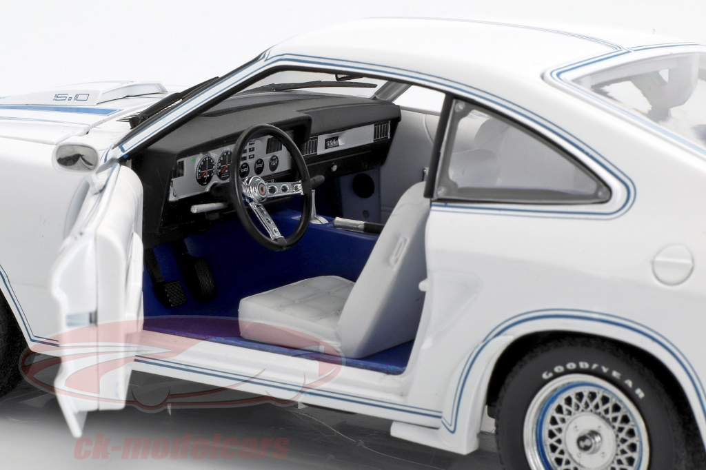 Ford Mustang II King Cobra année de construction 1978 blanc / bleu 1:18 Greenlight