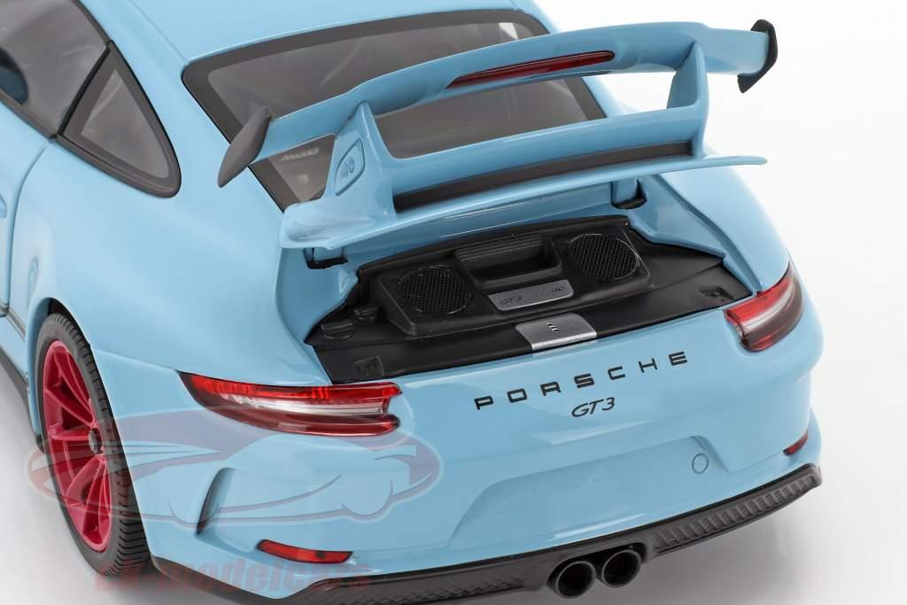 Porsche 911 (991 II) GT3 année de construction 2018 gulf bleu avec différent roue couleurs 1:18 Minichamps