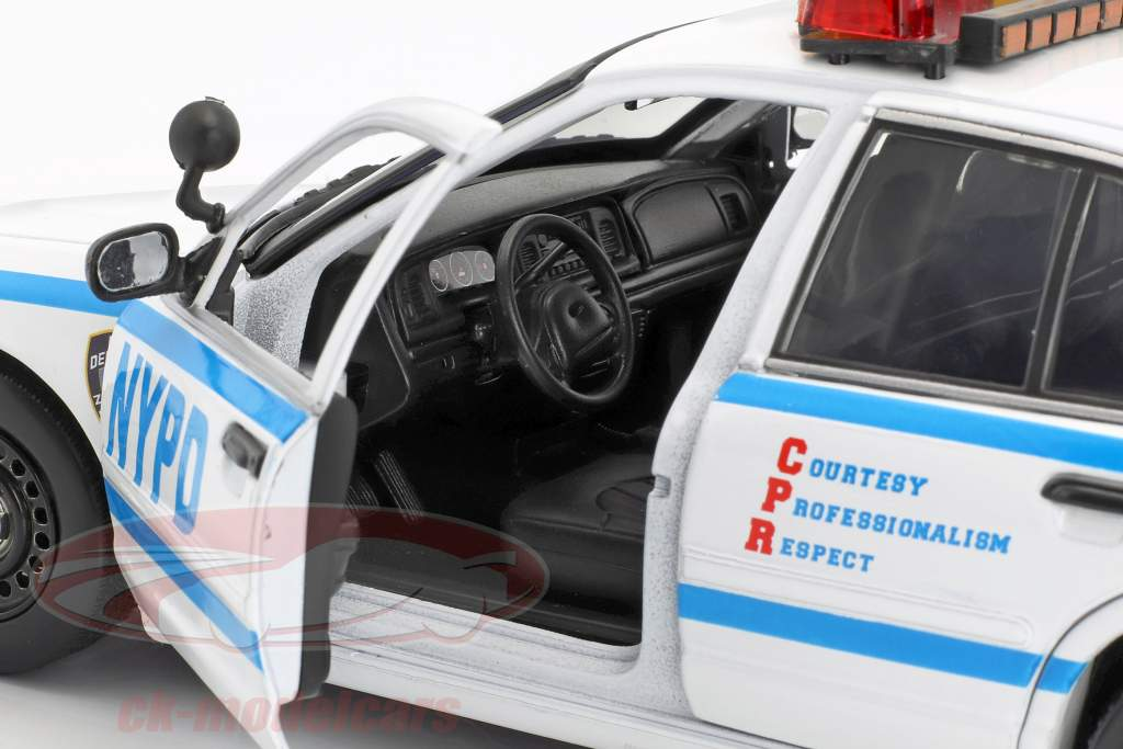 Ford Crown Victoria Police Interceptor NYPD 2001 Série TV Blue Bloods blanc / bleu 1:18 Greenlight