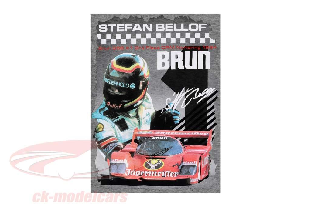 Stefan Bellof T-Shirt Brun 956 Norisring 1984 med forside grå