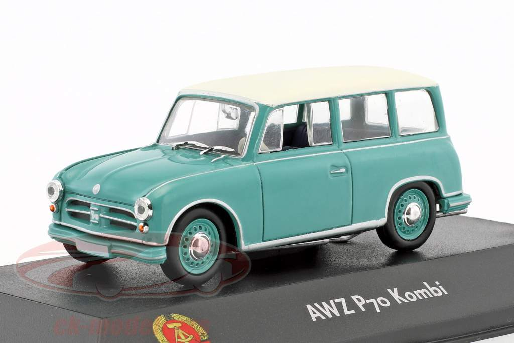 AWZ P70 station wagon turkoois / wit 1:43 Atlas