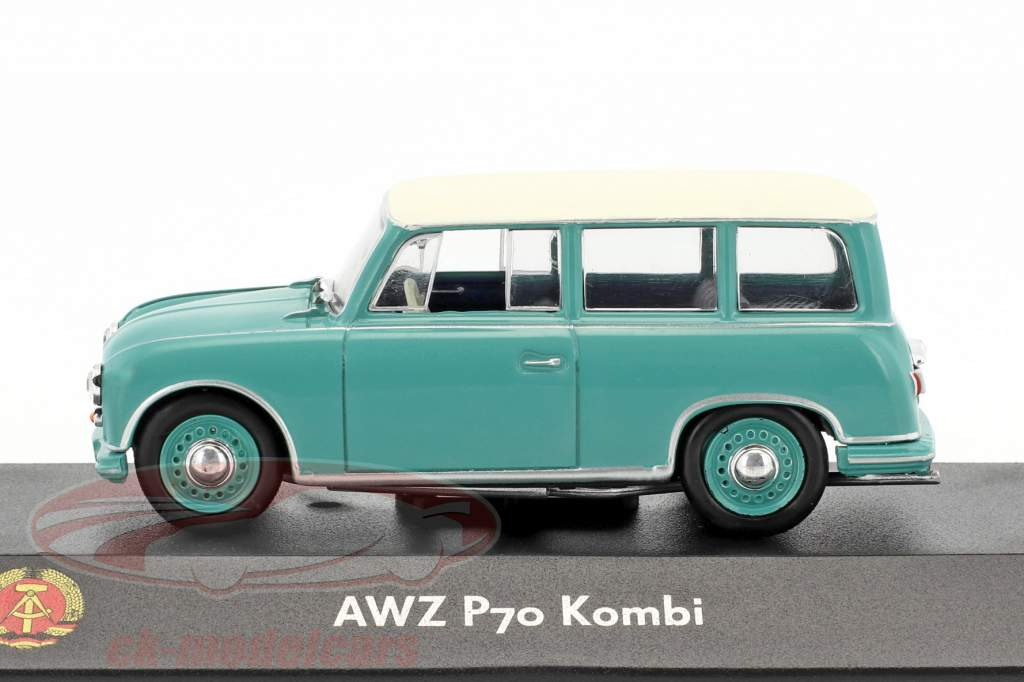 AWZ P70 carro de la estación turquesa / blanco 1:43 Atlas