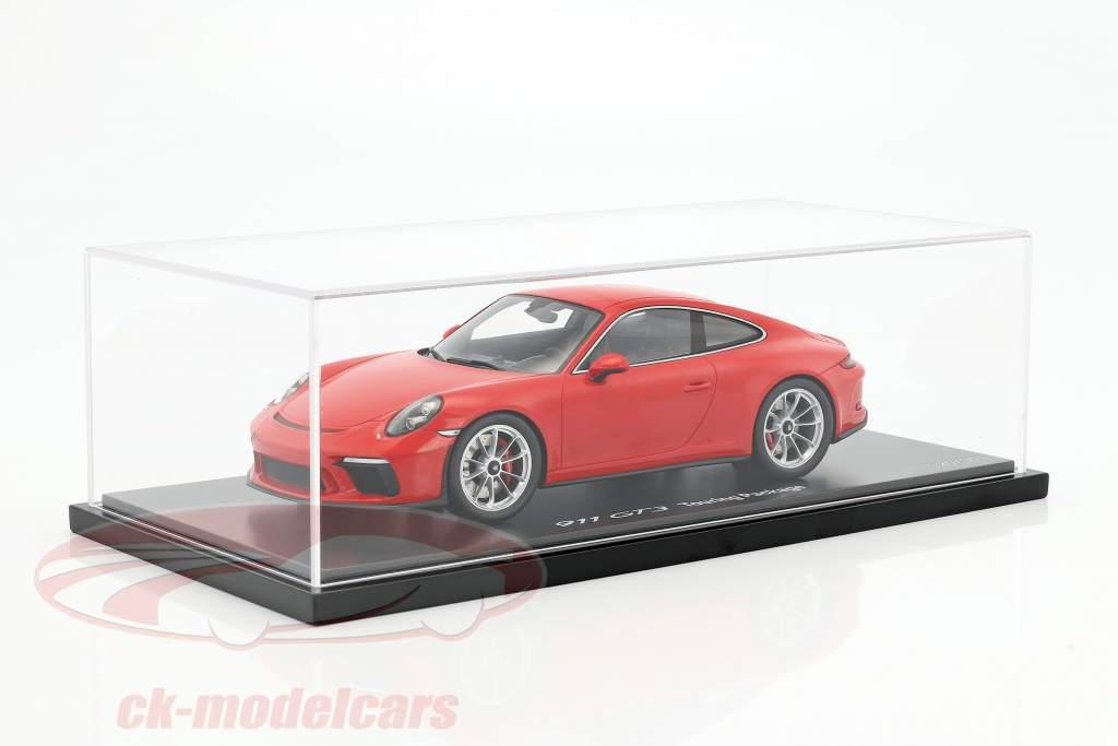 Porsche 911 (991 II) GT3 Touring Package indischrot mit Vitrine 1:18 Spark