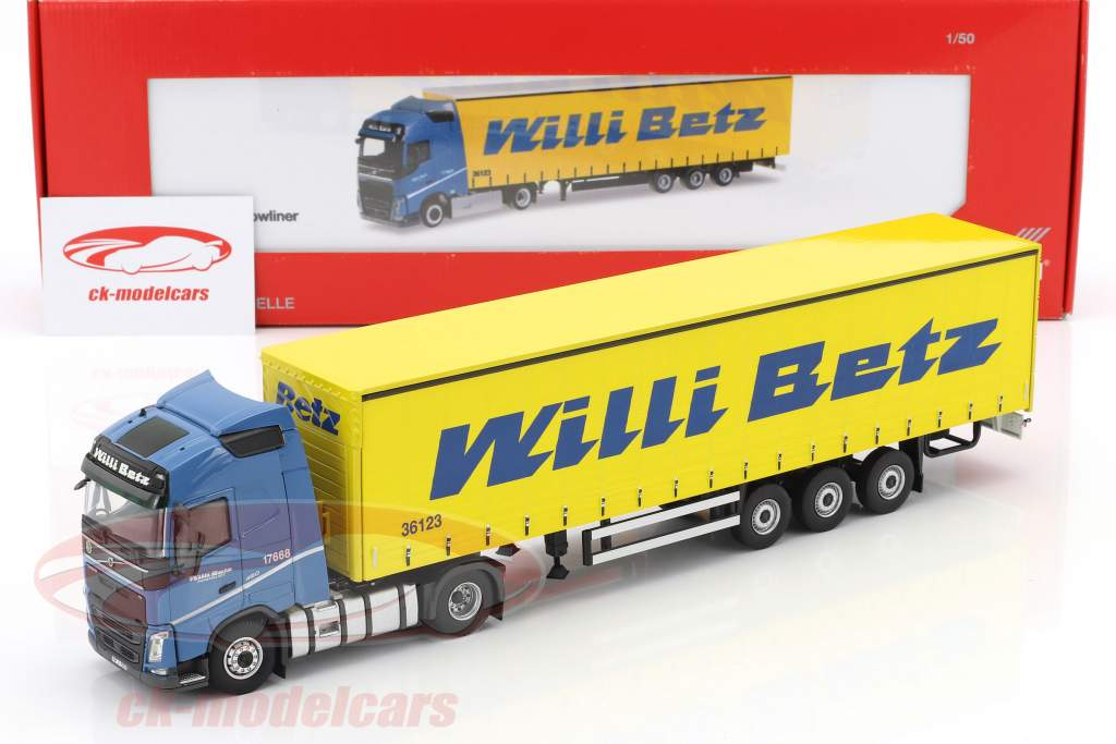 Volvo FH Globetrotter Lowliner semi-remorque Willi Betz bleu / jaune 1:50 Herpa