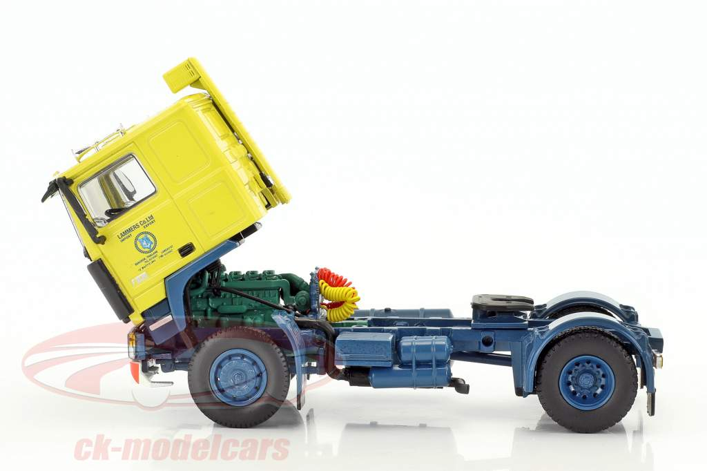 Volvo F10 Container semitrailer TV series Auf Achse (1977-1996) yellow / blue / silver 1:50 Herpa