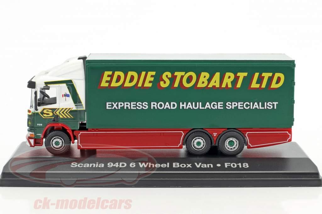Scania 94D 6-Wheel Box Van F018 Stobart green / White 1:76 Atlas