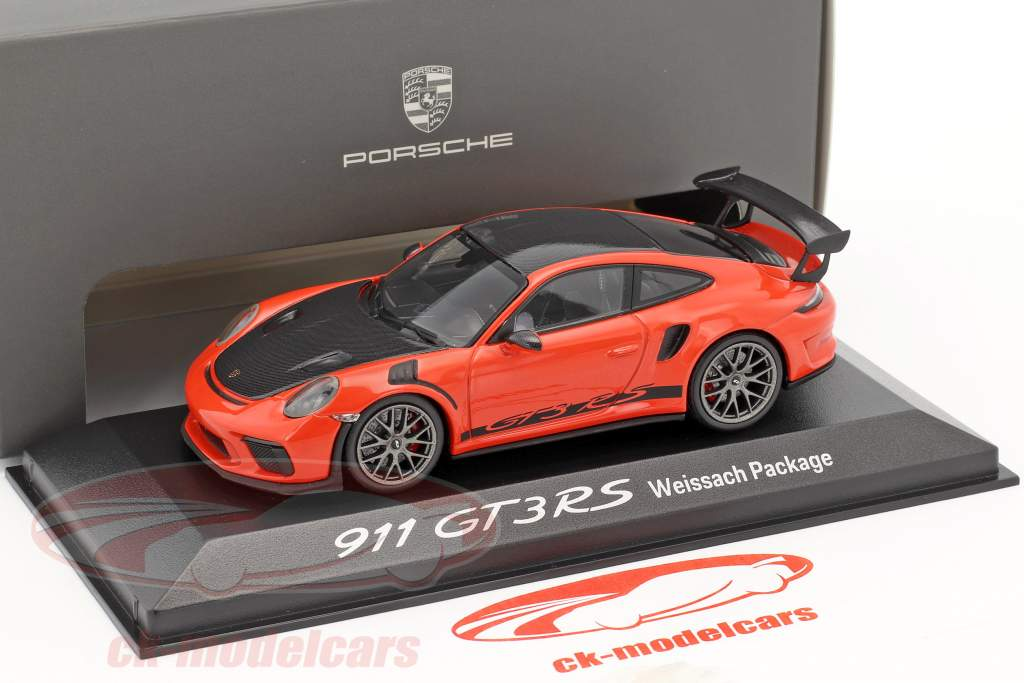 Porsche 911 (991 II) GT3 RS Weissach Package lava orange / black 1:43 Minichamps