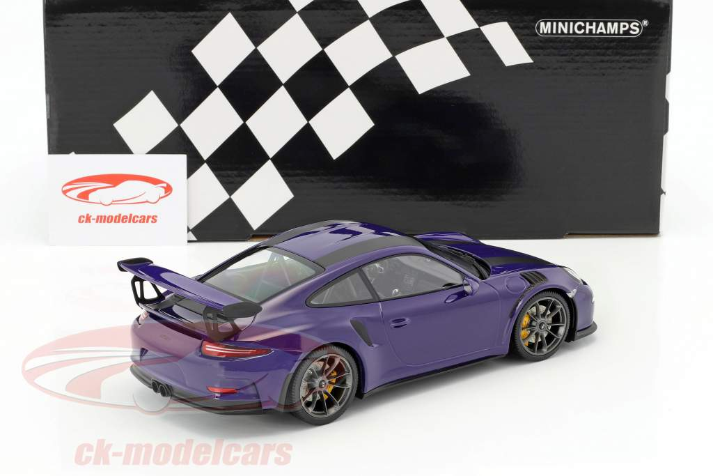 Porsche 911 (991) GT3 RS Construction year 2015 ultraviolet with black stripes 1:18 Minichamps