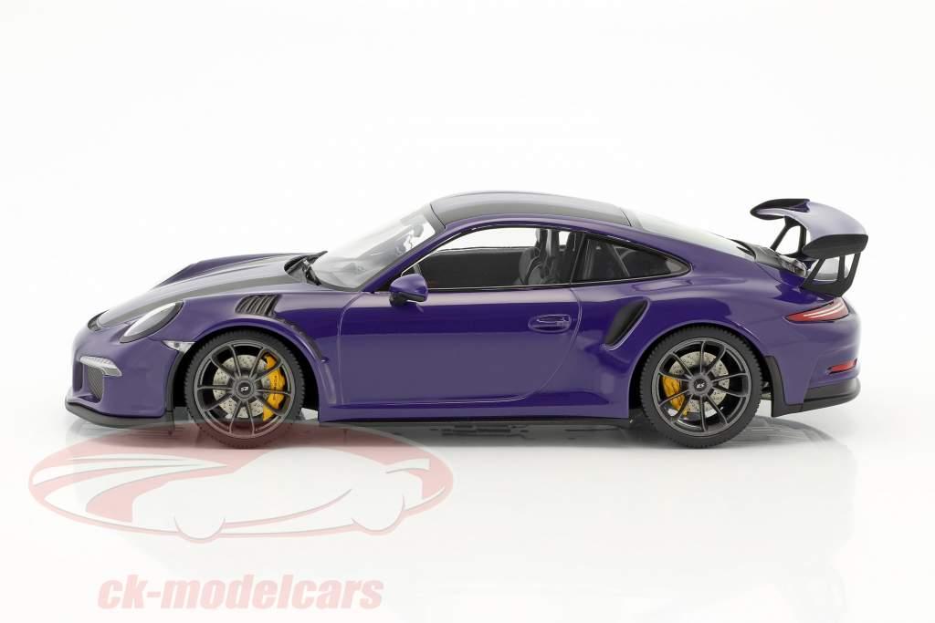 Porsche 911 (991) GT3 RS Baujahr 2015 ultraviolett mit schwarzen Streifen 1:18 Minichamps