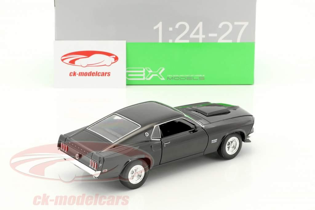 Ford Mustang Boss 429 Bouwjaar 1970 zwart 1:24 Welly