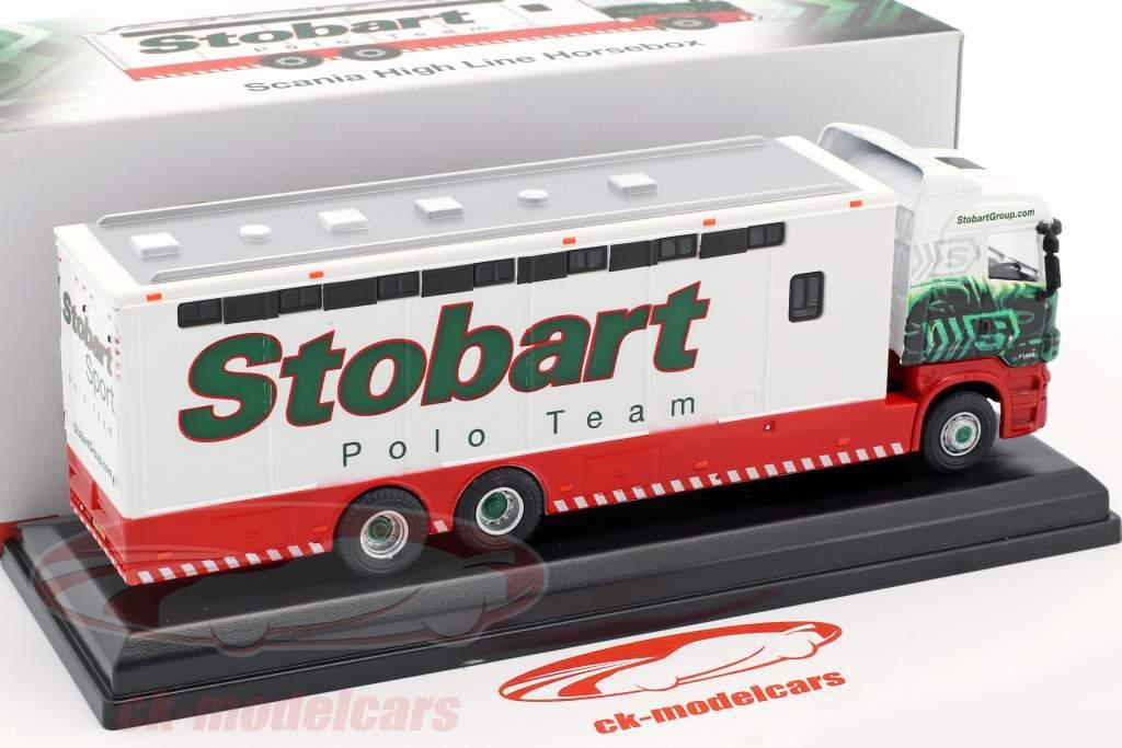 Scania High Line Horsebox Ivy F1499 Stobart rosso / bianco / verde 1:76 Atlas
