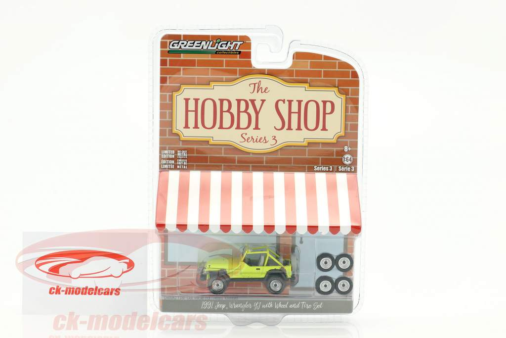 Jeep Wrangler YJ year 1991 yellow with Wheel and Tire set 1:64 Greenlight