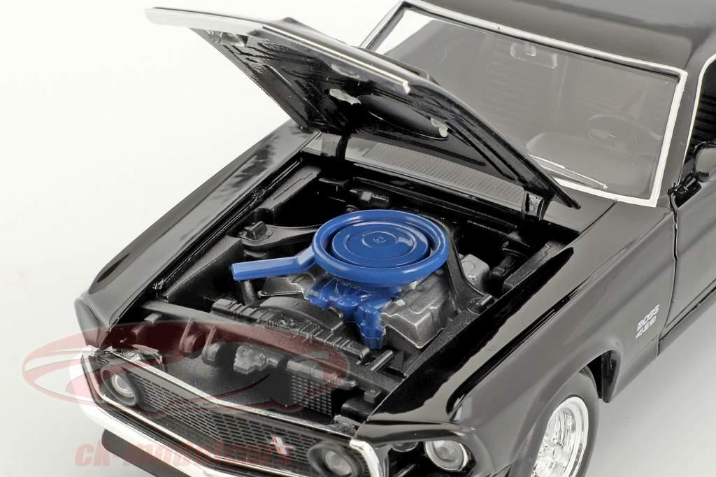 Ford Mustang Boss 429 anno di costruzione 1970 nero 1:24 Welly