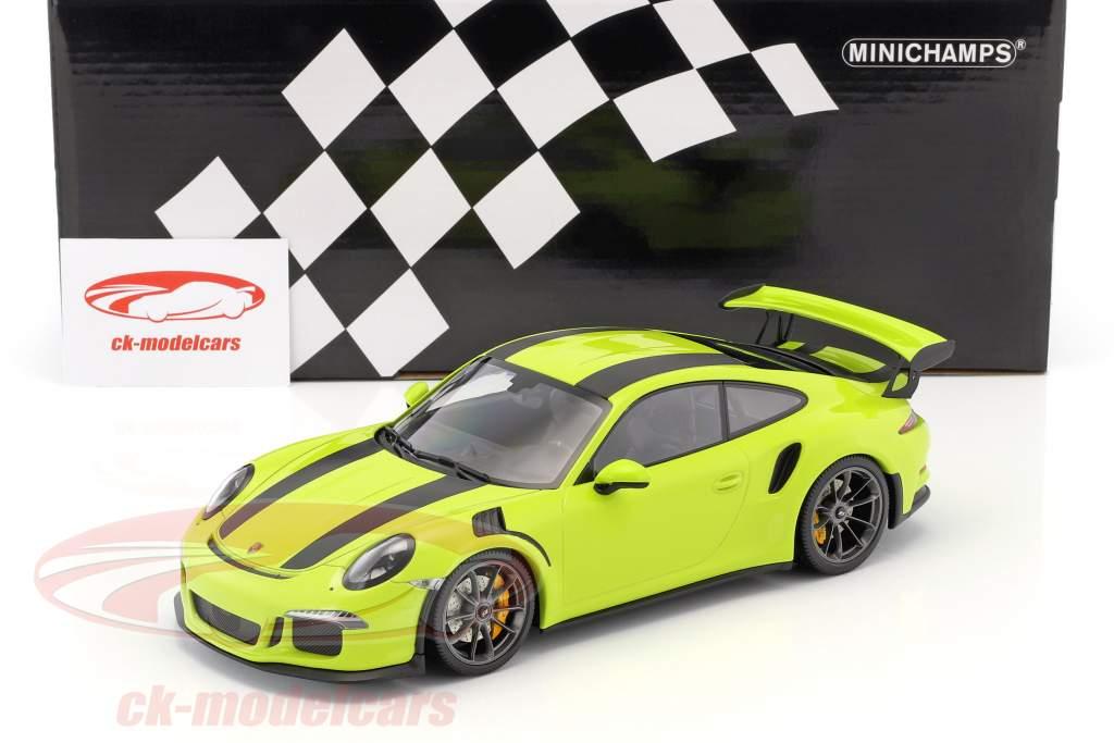 Porsche 911 (991) GT3 RS anno di costruzione 2015 luce verde con nero strisce 1:18 Minichamps