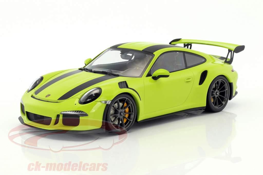 Porsche 911 (991) GT3 RS year 2015 light green with black stripes 1:18 Minichamps