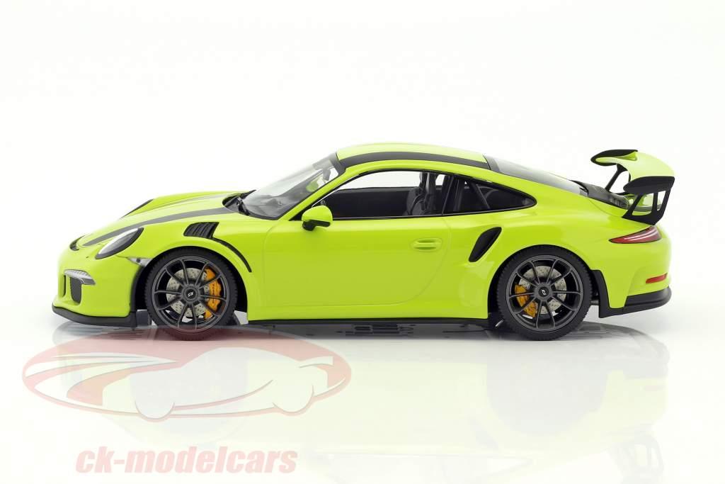 Porsche 911 (991) GT3 RS Baujahr 2015 lichtgrün mit schwarzen Streifen 1:18 Minichamps