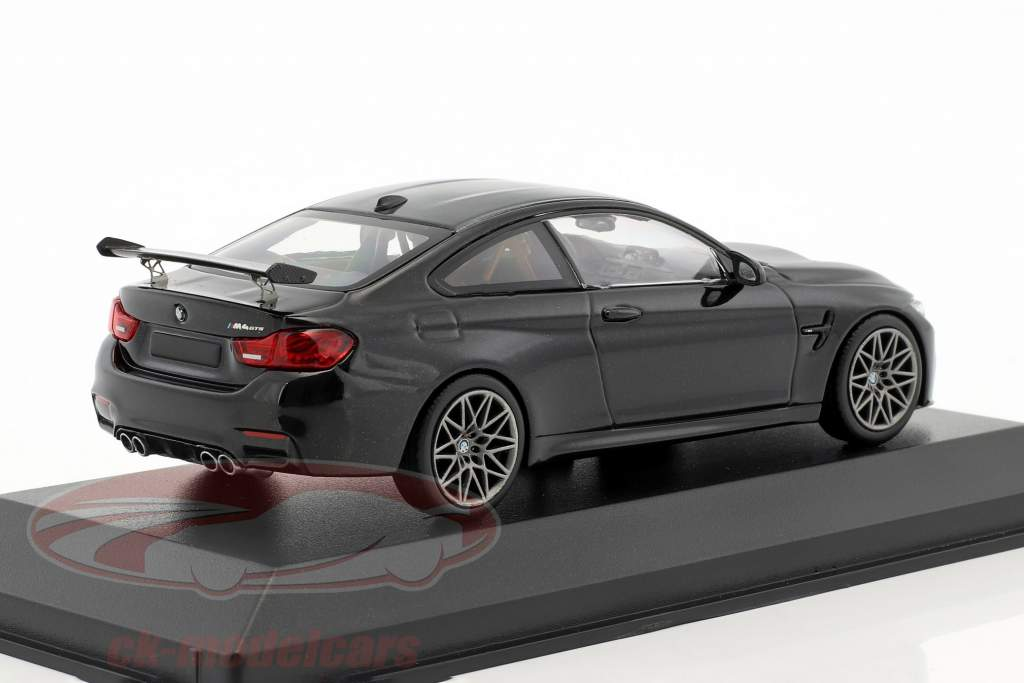 BMW M4 GTS year 2016 black metallic with gray wheels 1:43 Minichamps