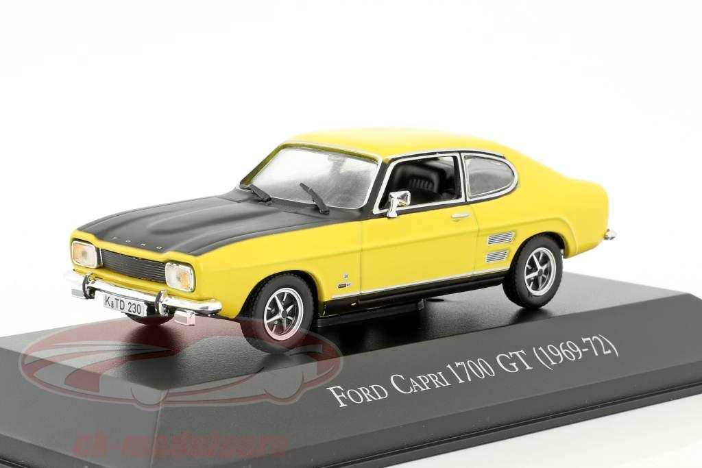 Ford Capri 1700 GT année de construction 1969-1972 jaune / noir 1:43 Hachette