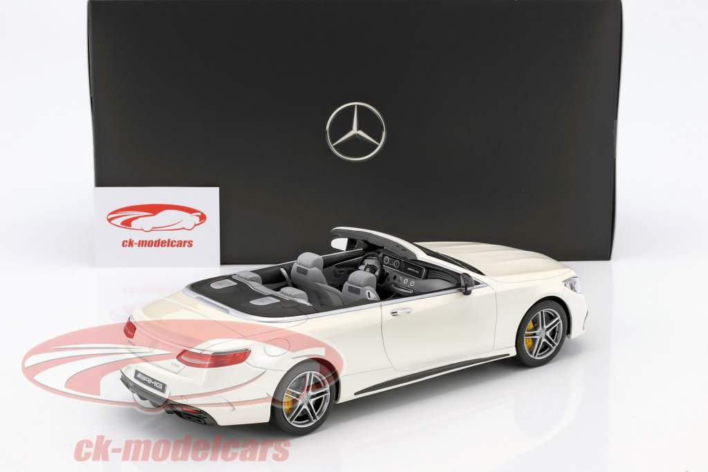 Mercedes-Benz AMG S 63 Cabriolet designo diamond white bright 1:18 GT-Spirit