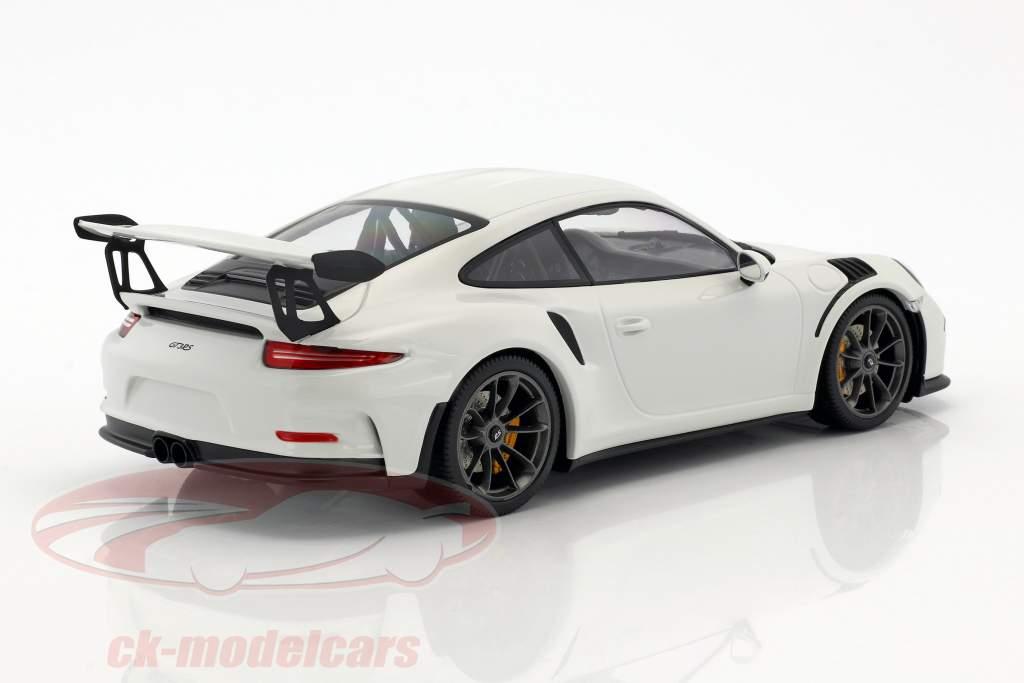 Porsche 911 (991) GT3 RS year 2015 white with black rims 1:18 Minichamps