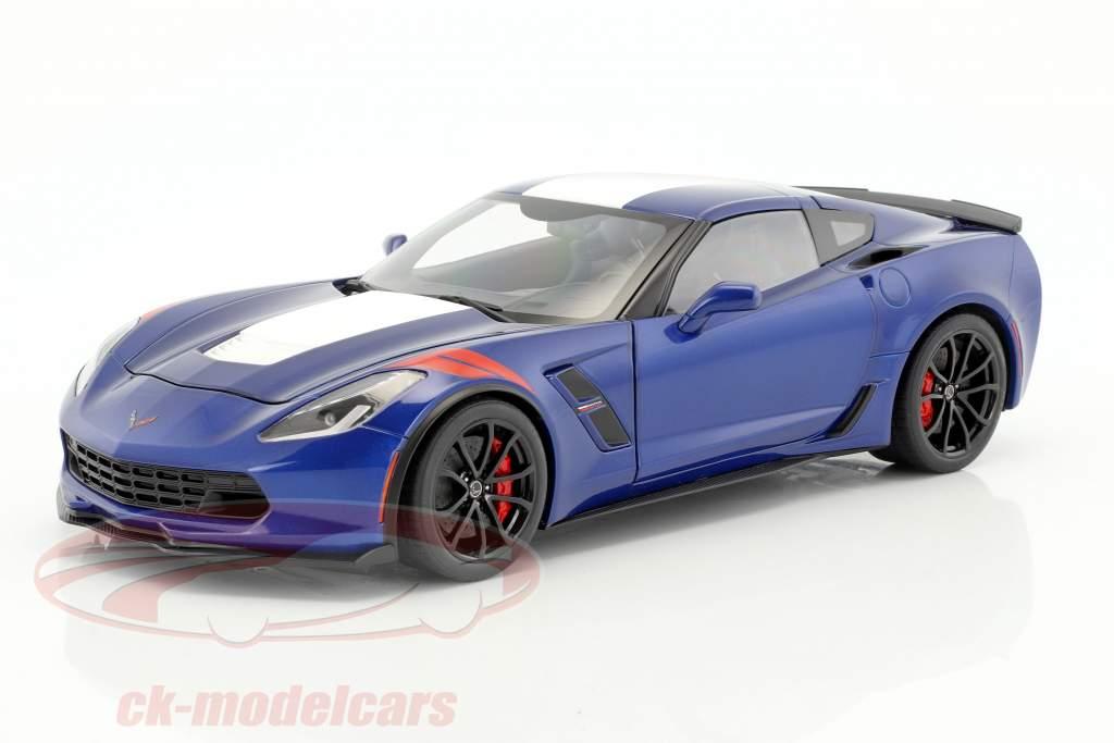 Chevrolet Corvette C7 Grand Sport Baujahr 2017 blau mit weißen Streifen 1:18 AUTOart