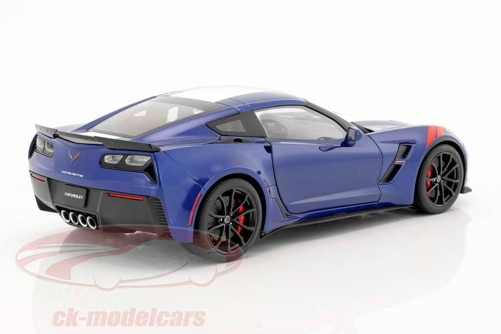 Chevrolet Corvette C7 Grand Sport année de construction 2017 bleu avec blanc rayures 1:18 AUTOart