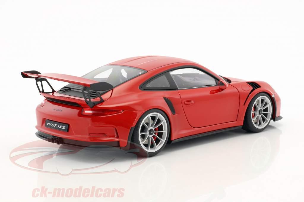 Porsche 911 (991) GT3 RS Baujahr 2016 rot mit silbernen Rädern 1:18 AUTOart