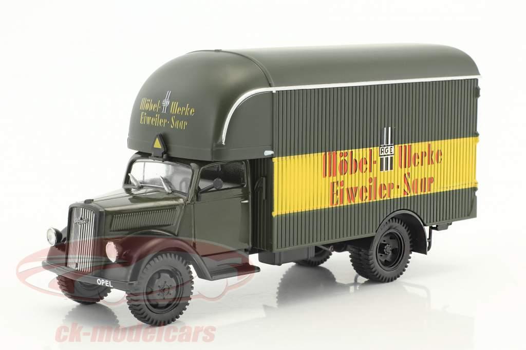 Opel Blitz Truck Möbel-Werke Eiweiler-Saar dark olive / yellow / red in Blister 1:43 DeAgostini