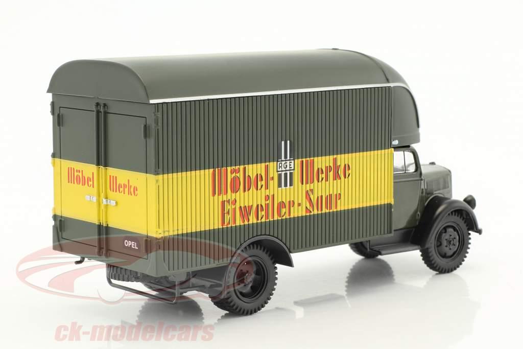 Opel Blitz LKW Möbel-Werke Eiweiler-Saar dunkeloliv / gelb / rot in Blister 1:43 DeAgostini