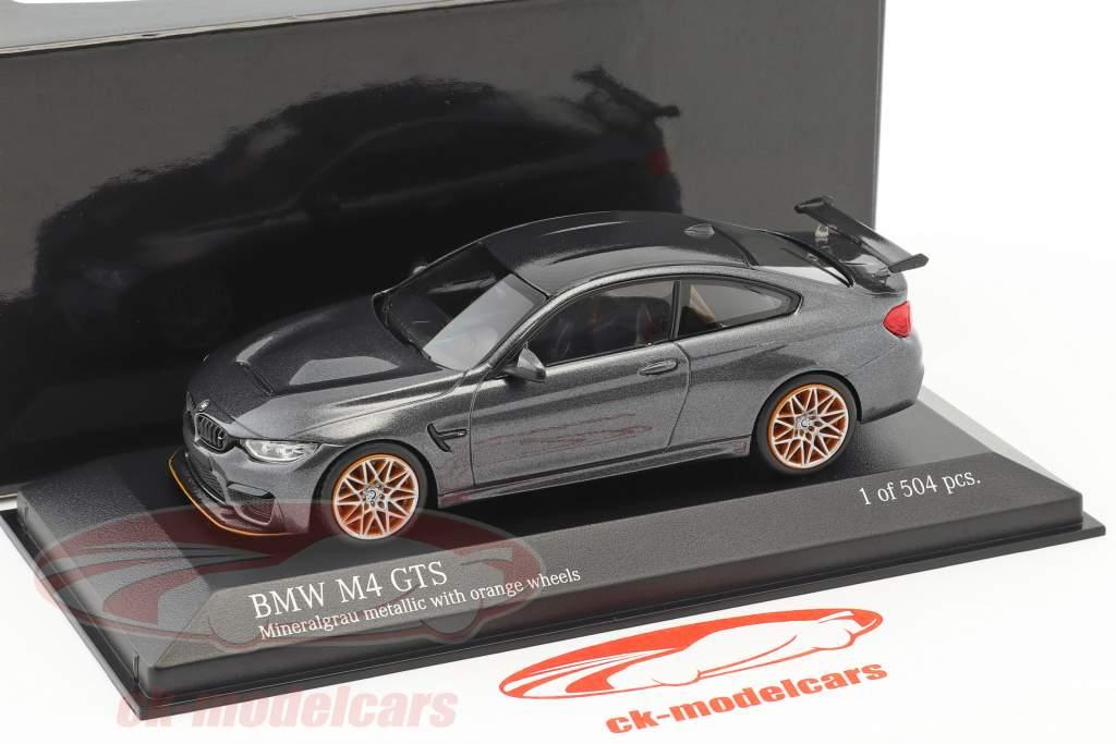 BMW M4 GTS année de construction 2016 gris métallique avec orange roues 1:43 Minichamps