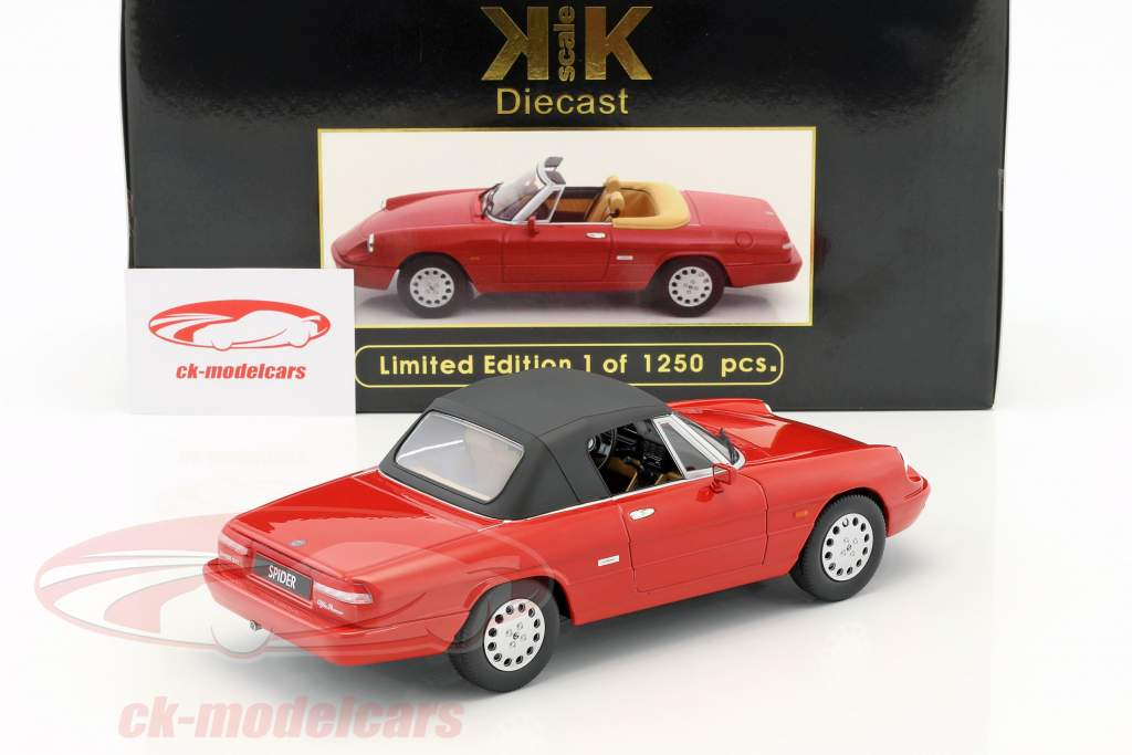 Alfa Romeo Spider 4 with removable softtop Construction year 1990 red 1:18 KK-Scale