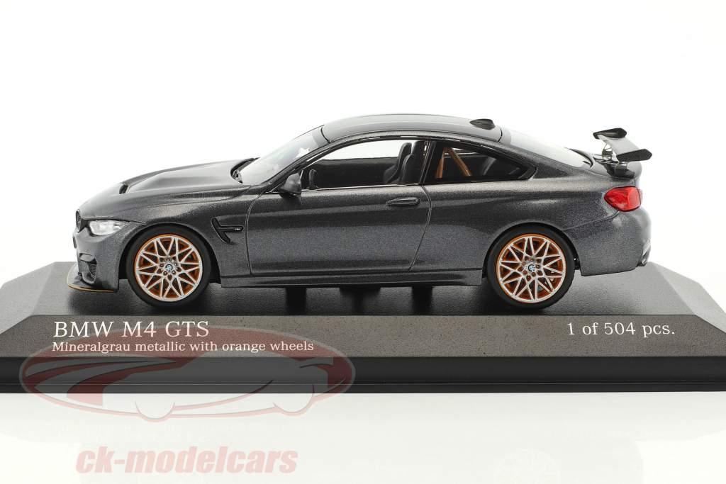 BMW M4 GTS anno di costruzione 2016 grigio metallico con arancione ruote 1:43 Minichamps