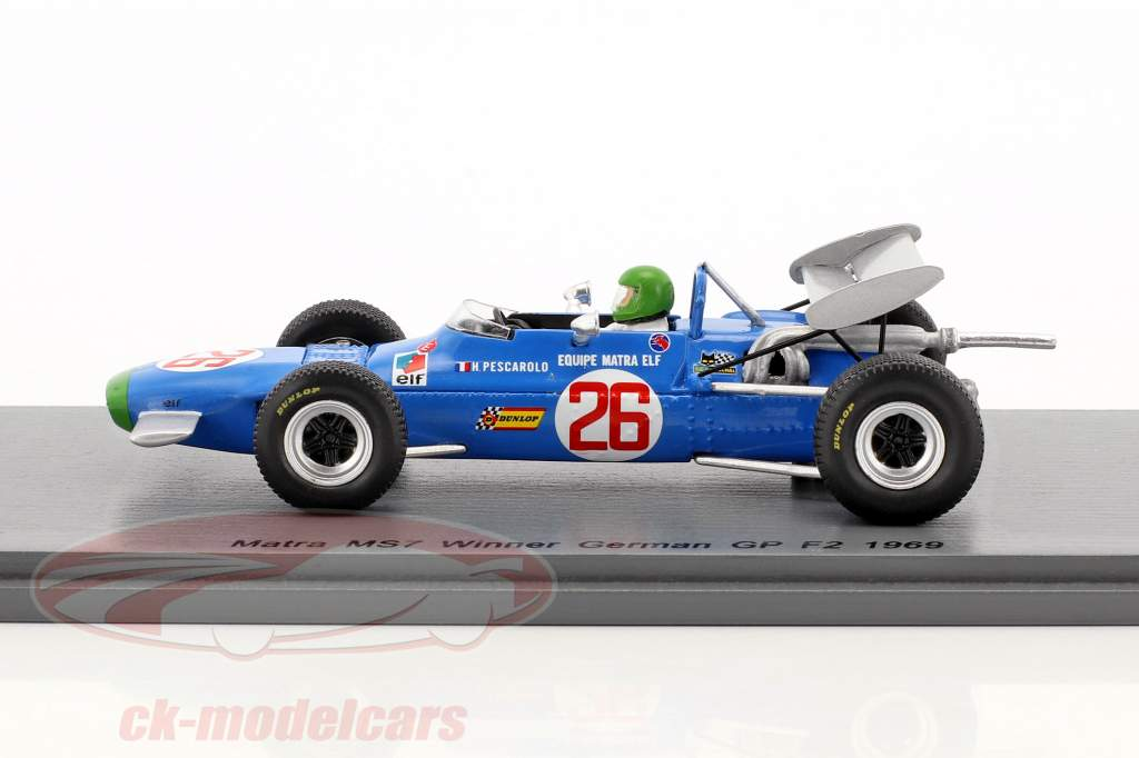 Henri Pescarolo Matra MS7 #26 gagnant allemand GP formule 2 1969 1:43 Spark