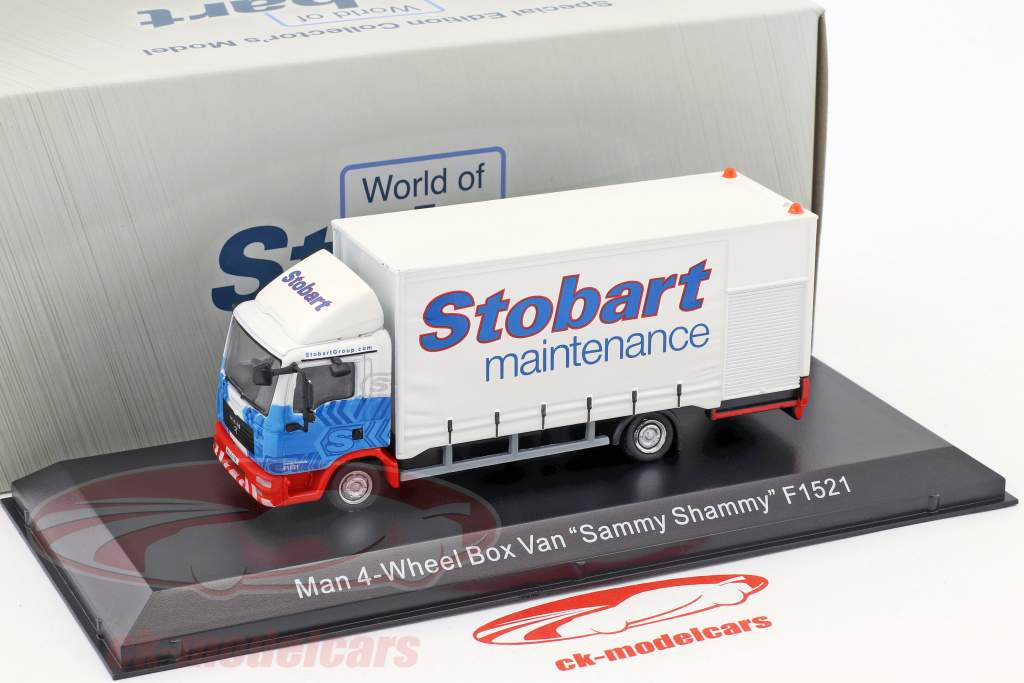 MAN 4-Wheel Box Van Sammy Shammy F1521 Stobart bianco / blu 1:76 Atlas