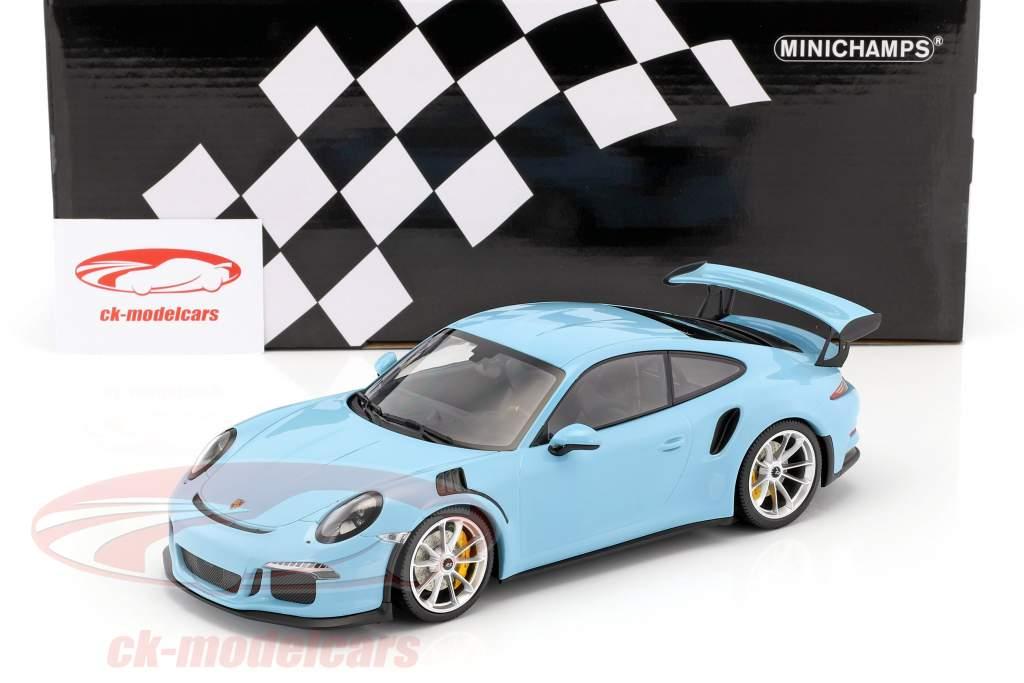 Porsche 911 (991) GT3 RS year 2015 gulf blue with mat silver rims 1:18 Minichamps
