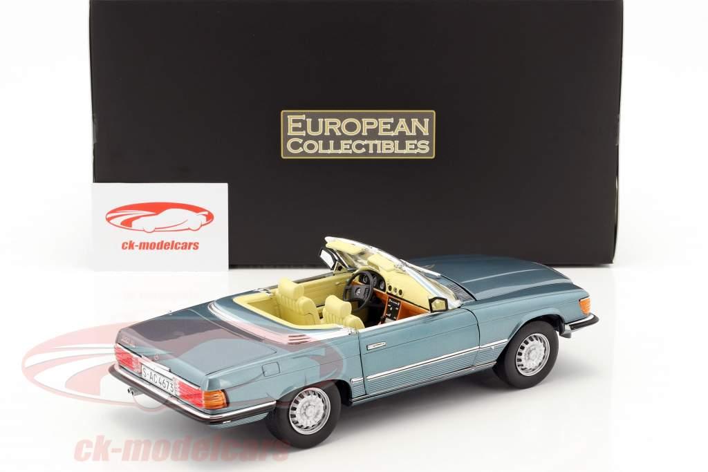 Mercedes-Benz 350 SL convertible Open Top année de construction 1977 bleu clair métallique 1:18 SunStar