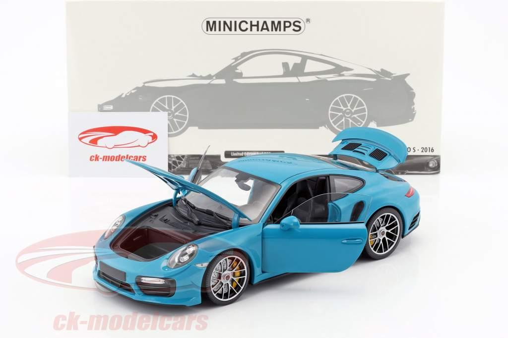 Porsche 911 (991 II) Turbo S Baujahr 2016 miami blau 1:18 Minichamps