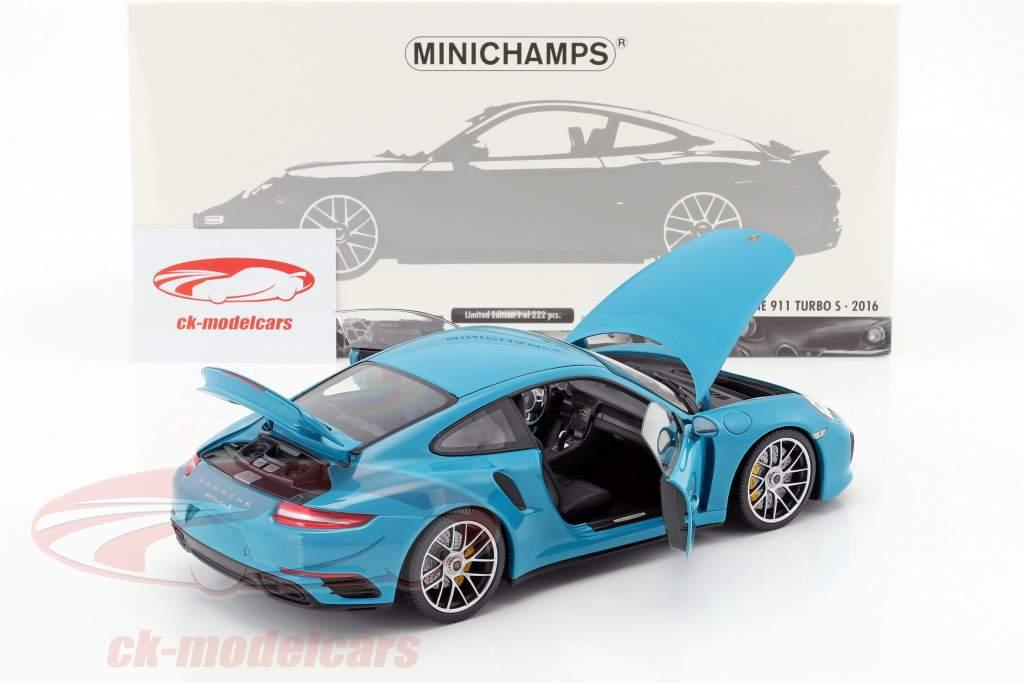 Porsche 911 (991 II) Turbo S anno di costruzione 2016 miami blu 1:18 Minichamps