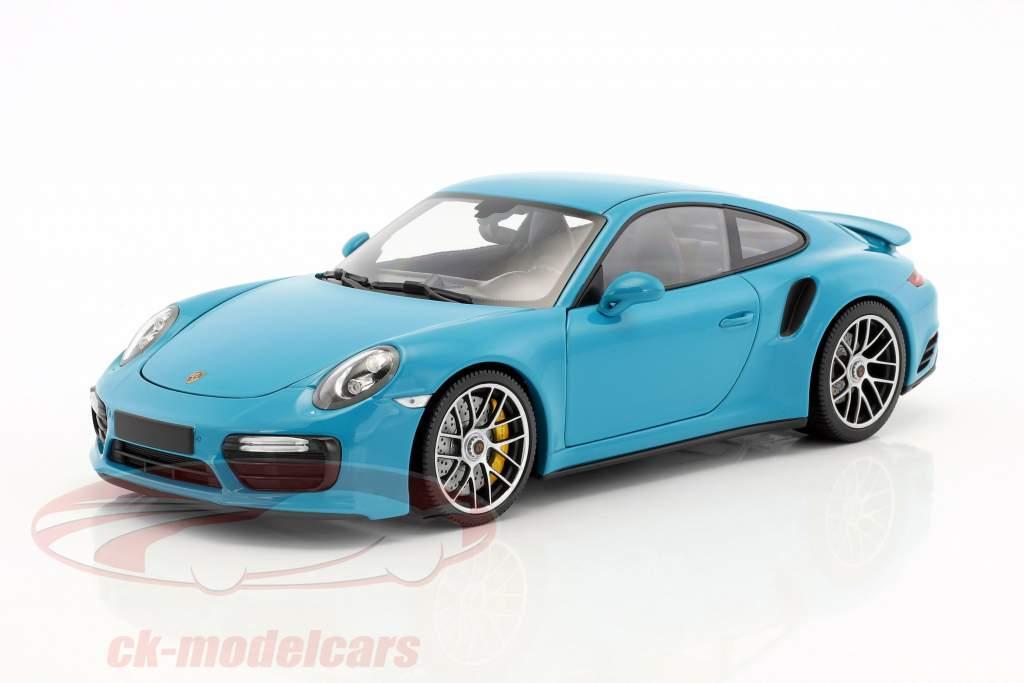 Porsche 911 (991 II) Turbo S year 2016 miami blue 1:18 Minichamps